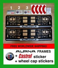 2X ALPINA 3Colors Number Plate Frame+CASTROL oil sticker+wheel cap stickers BMW