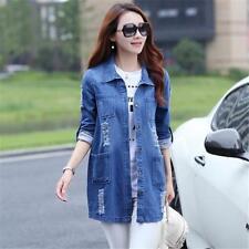 Women Spring Autumn Long Sleeve Solid Color Plus Size Denim Jacket Coat B