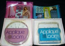 "Lot 2 Vtg Boye Applique Weaving Looms 5"" Round & 4.5"" Square w/Needles & Inst"