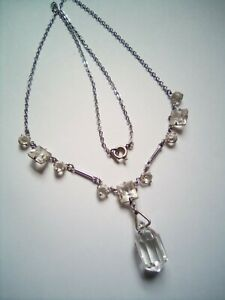 Vintage Art Deco Necklace, Clear Bezel Glass And Crystal