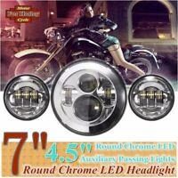 "7"" Chrom LED Scheinwerfer Hi/Low Beam mit Projektor+2pcs Nebel für Harley Bobber"