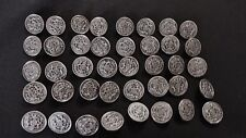 BUTTONS Silver-tone Lot 40 Single Shank     B