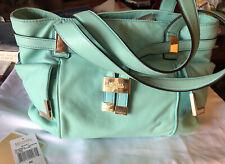 Michael Kors Beverly Lg Aquamarine Leather Drawstring Satchel Handbag