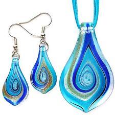 Silver Aqua Swirl Leaf Lampwork Glass Murano Bead Pendant Necklace Earrings Set