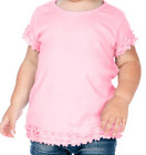 Blank Ruffle Trimmed Hem Girls T Shirt Tunic 100% Cotton for Embroidery 6M-6X