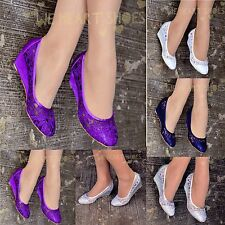 Ladies Womens Lace Shoes Wedge ballet pumps Evening Office Low Heel Uk size 3-8