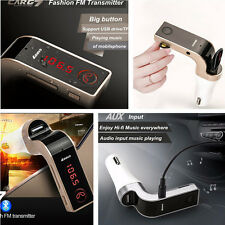 Car Red LED Bluetooth Handsfree FM Transmitter Radio MP3 Player USB Charger AUX