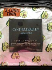 NIP CYNTHIA ROWLEY~TWIN XL Sheet Set Avocado Love~Fits Dorm Beds Perfectly!!