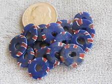 Lot of 15 Antique Venetian Glass Trade Beads Cobalt Blue Aja 1x10mm