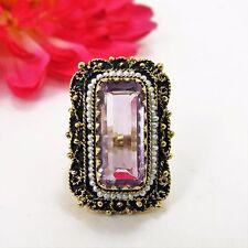 Vtg 14K yellow gold Emerald Cut Amethyst & seed Pearls Filigree Ring Size 6 1/2