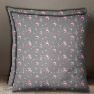 S4Sassy Floral Print Square Cushion Cover Cotton Poplin Gray Pillow Case 1 Pair