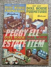 """HTF NO. 101, 102, 103, & 104 """"CUT OUT DOLL HOUSE FURNITURE"""" BOOKS & PAPER DOLLS"""