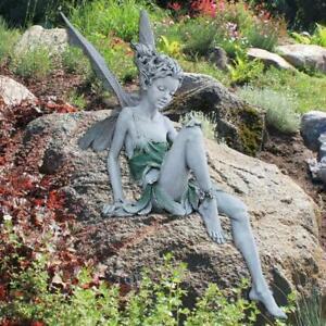 Sitzende Feengartenstatue Figur Engel Engel Ornament Patio Skulptur Harz Stein