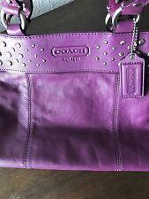 COACH Purse F15235 Studded Purple/Plum Eggplant Leather Tote~Excellent Condition