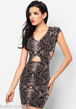 River Island Beige snake print cut out side bodycon dress 14 Stretch Jersey New