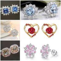 Luxury 925 Silver White Topaz Snowflake Stud Earrings Flower Womens Ear Jewelry