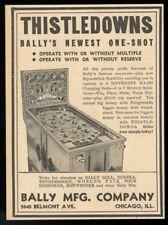 1938 Bally Thistledowns Pinball Maschine Foto Handel Aufdruck Anzeige