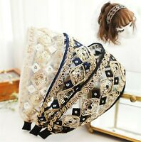 Women Retro Boho Sequined Lace Embroidery Wide Hair Headband Head Wrap Band hoop