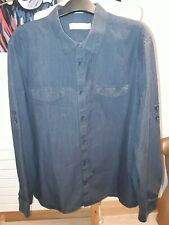 Mens Calvin Klein Long Sleeve Shirt Blue Navy Stripe large