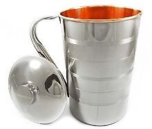 Copper and Steel Jug Pitcher Water Storage -1.5 Ltrs (Approx) (Silver -Touch)