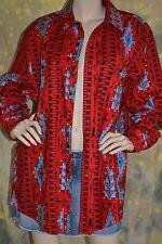 """vtg 80s 90s SOUTHWEST red WRANGLER boyfriend shirt 17.5"""" 35"""" L"""
