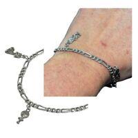 Bracelet à breloques en argent massif 925 maille gourmette alternée 20cm bijou