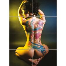 Sexy Tattoo Asian Wall Art Multi Panel Poster Picture Print 33X47 Inches