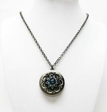 Antique Silver Plating Round Blue Bell Locket Pendant Necklace