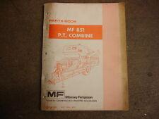 Massey Ferguson 851 Pull Type Combine Parts Manual
