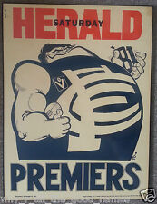 WEG 1981 Herald Grand Final PREMIERS POSTER - CARLTON BLUES Laminated & Mounted