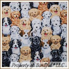 BonEful FABRIC FQ Cotton Quilt Fit to Print Puppy Dog Breed Baby Face B&W Brown