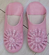 MOROCCAN PINK LEATHER SEQUINED SLIPPERS size 5/38