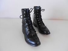 Women's Justin Granny Combat Boots Grunge Boho Black Leather 5.5 B Medium
