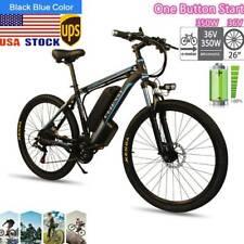 26'' Electric Mountain Bike Bicycle 350W 36V Shimano 21 Speed Black&Blue
