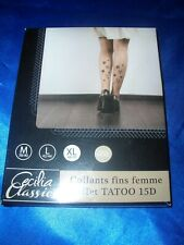 Sexy Tatoo Muster Feinstrumpfhose Gr. 46-48 schwarz 15 den Tights Collant OVP