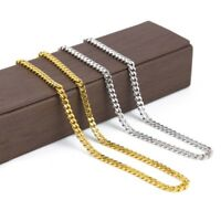Unisex Men's Stainless Steel Cuban Hip Hop Link Chain Choker Necklace Jewelry