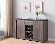 151367 Smart Home Grey Extendable Wine Cellar Storage Sideboard Buffet Table