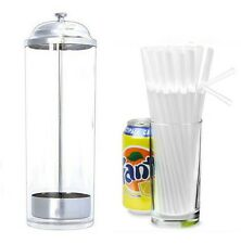 "Straw Dispenser with 250 Clear Bendy 8"" Straws 
