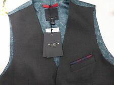 BNWT Ted Baker Charcoal Grey Baywai Textured Pattern Waistcoat size 2 S