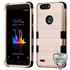 Rose Gold Brushed Black TUFF Hybrid Phone Cover ZTE Sequoia ZTE Z982 B