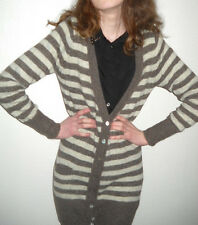 sexy ZARA Strickjacke Cardigan Jacke grau creme gestreift Mohair S M L 36 38 IN
