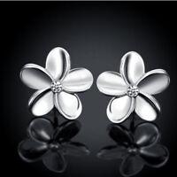 Small Fashion Lovely Solid Women's Rose Gold Flower Earrings Stud Earrings