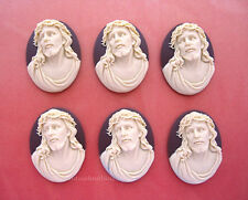 6 Christian Easter Ivory color JESUS in Crown Thorns on Brown 40mm x 30mm CAMEOS