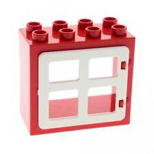 1 X Lego Duplo Maison Fenêtre Porte Cadre Rouge plat Clip Support Arrière Ausschnit