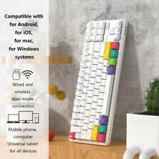 White Blue Shaft CHENFA I610T 61 Keys Tablet Mobile Phone Computer Dual-Mode Mechanical Bluetooth Keyboard Color : Color2