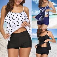 Women Tankini Swimsuit with Boy Shorts Spotted Swimwear Two Piece Swimsuit UK