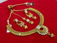 Indian Traditional Gold Plated Bollywood Ethnic Fashion Jewelry Necklace Set