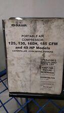 Sullair Portable Air Compressor 125 130 160h 185 Operation Parts List Manual