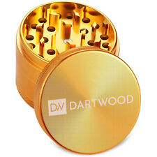 Herb Grinder Spice Herbal Metal Aluminum Alloy Crusher 4 Piece Tobacco Gold