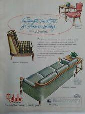 1958 Globe living room sofa chairs tables  Vintage Modern  design Furniture ad